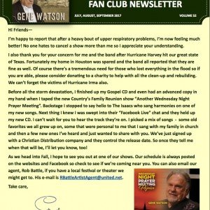 Get all the News Now – Read the Gene Watson Newsletter